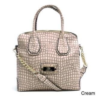 Anais Gvani Large Gold-Trimmed Croco Tote Bag