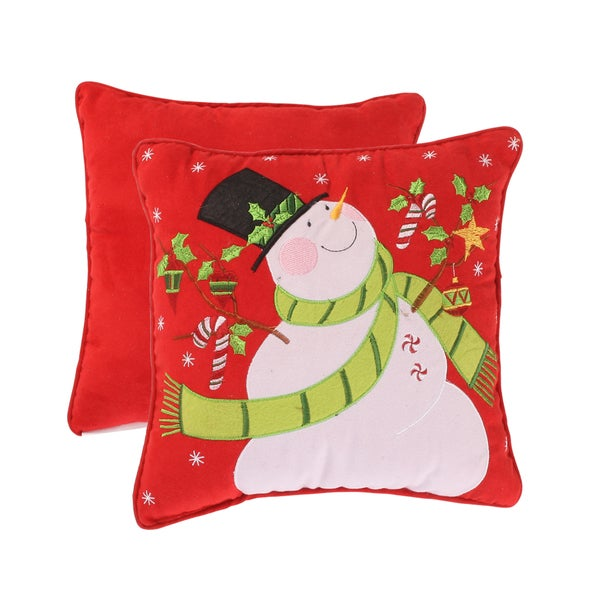 Holiday Snowman 12-inch Corded Accent Pillow