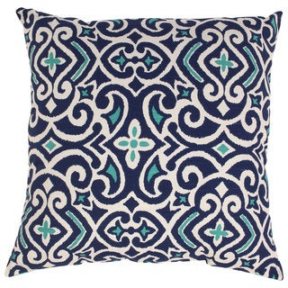 Pillow Perfect Blue/White Damask 24.5-inch Throw Pillow