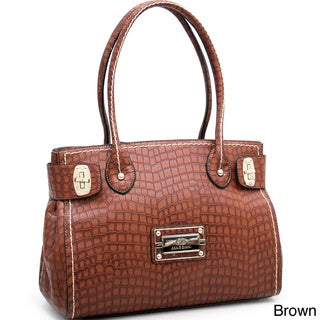 Anais Gvani Croco Embossed Shoulder Bag