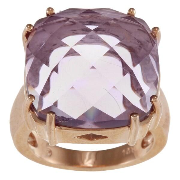 14k Rose Gold Cushion-cut Amethyst Ring