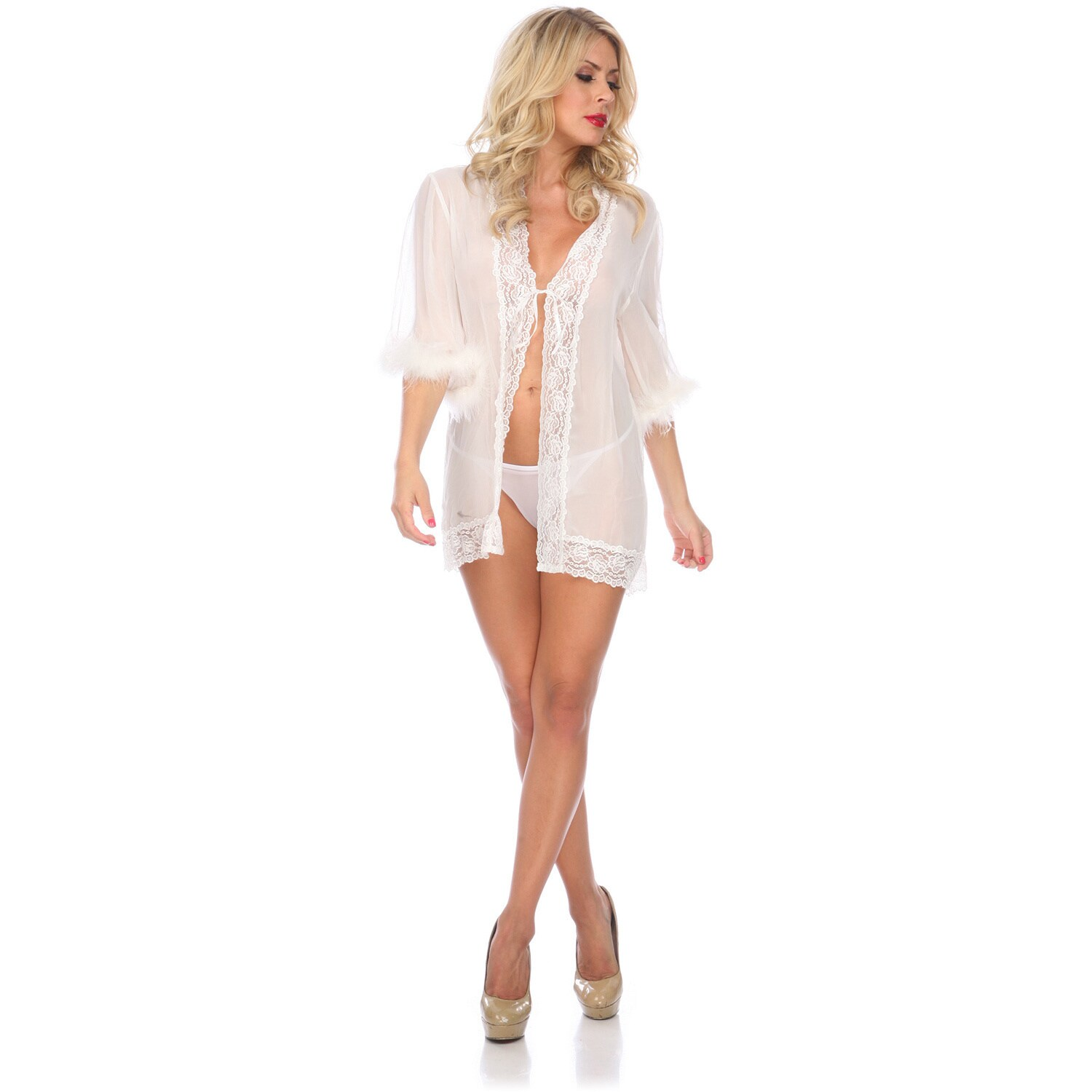 Popsi Lingerie Chiffon and Lace Robe (Red-Os), Women's, R...