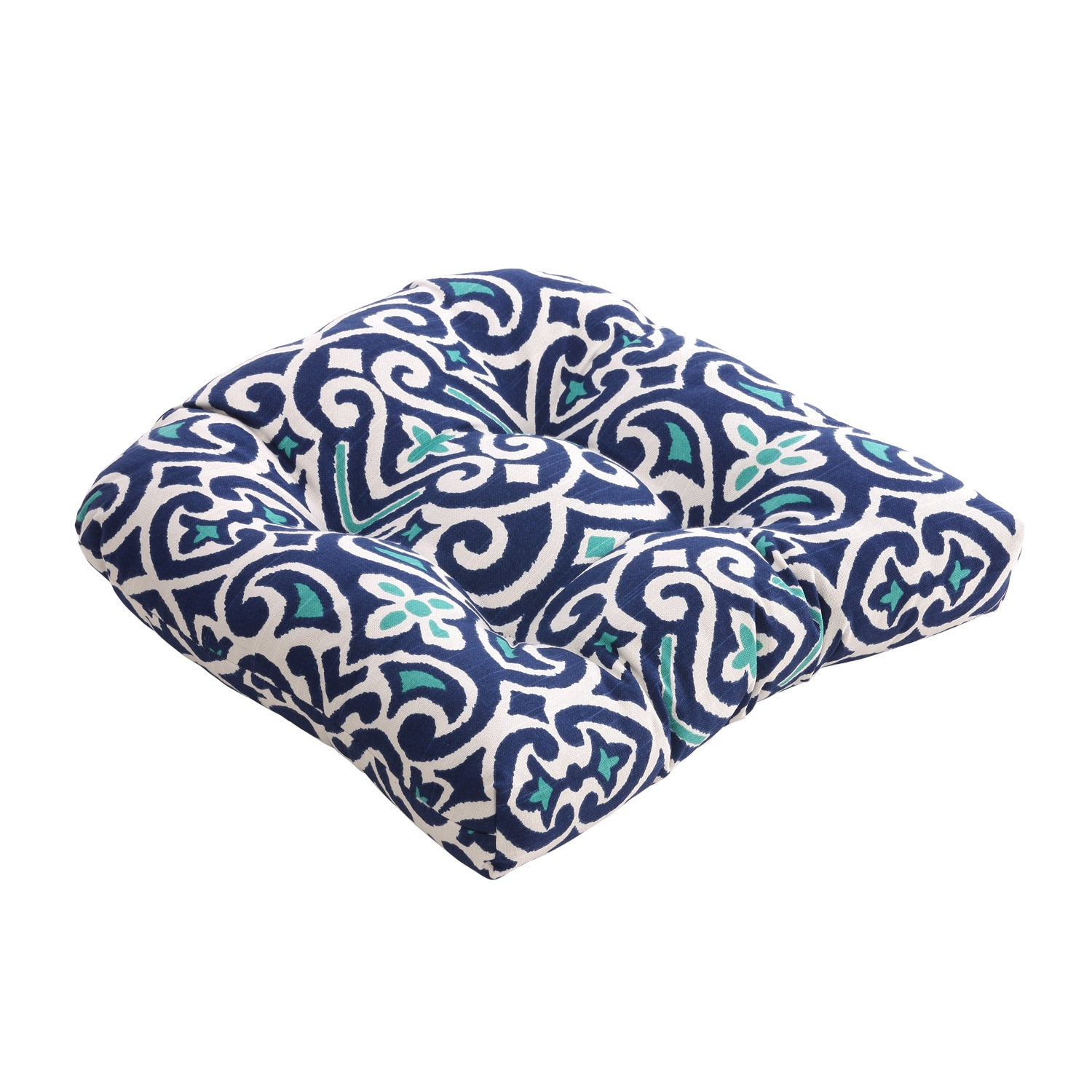 Pillow Perfect Blue White Damask Reversible Chair Pad Set Of