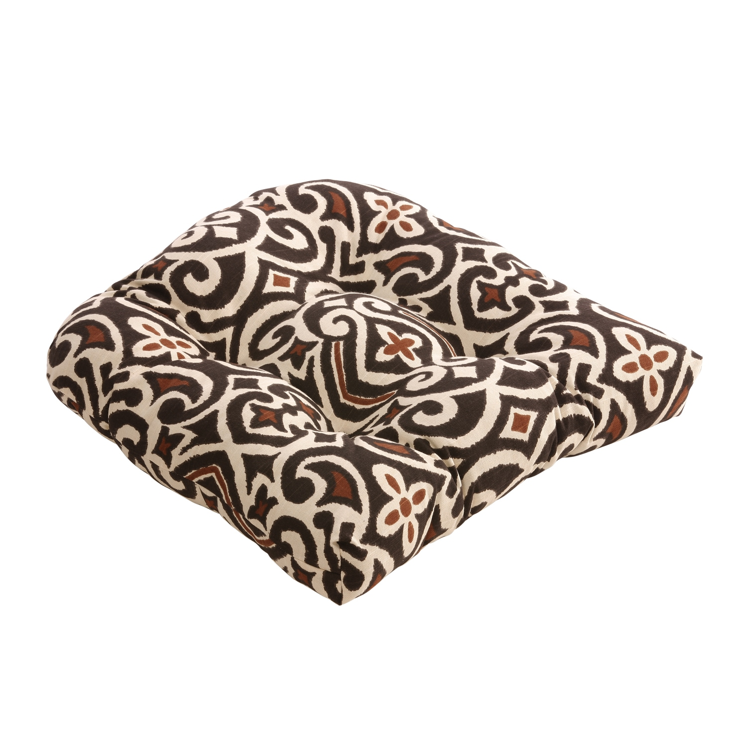 Pillow Perfect Brown/Beige Damask Chair Cushion