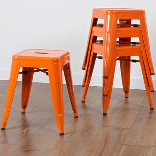 Stockwell Orange Iron Chairs (Set of 4)