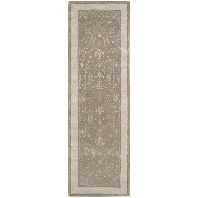 Nourison Hand-tufted Symphony Bordered Warm Taupe Rug (2'3 x 8')