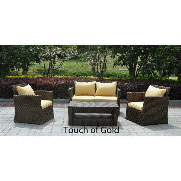 St. Lucia 4-piece Resin/ Aluminum Outdoor Settee Set