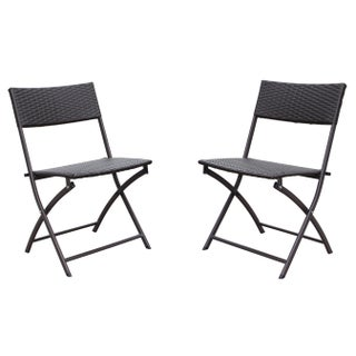 International Caravan Castillo Resin/ Steel Folding Chairs (Set of 2) (2 options available)