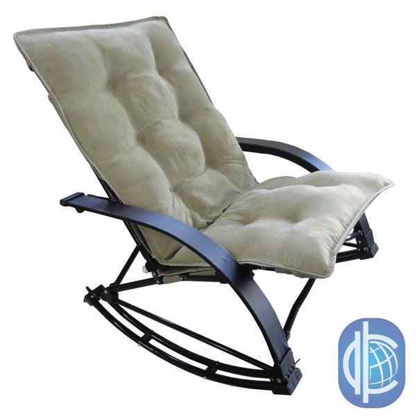 International Caravan Indoor/ Outdoor Folding Rocking Chair with Extendable Footrest and Microsuede Cover