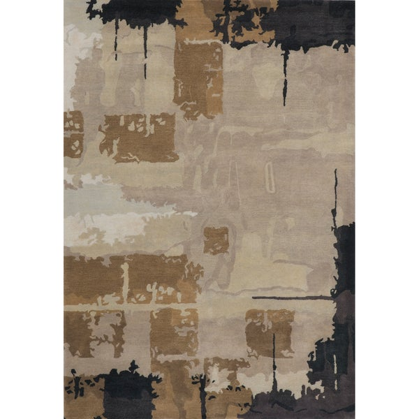 "Monet Abstact Grey Hand-Tufted Wool Rug (5'3"" x 8')"