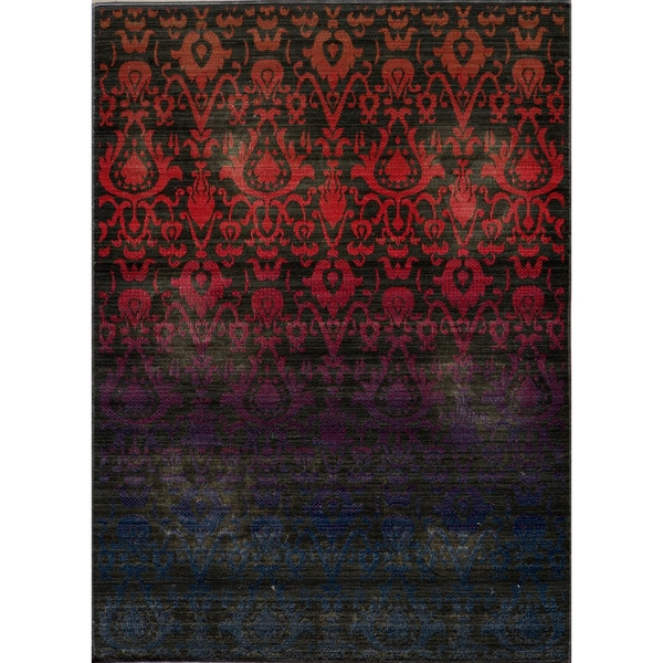 "Vintage Ikat Fire Multi New Zealand Wool Rug (2'7"" x 4'7"")"