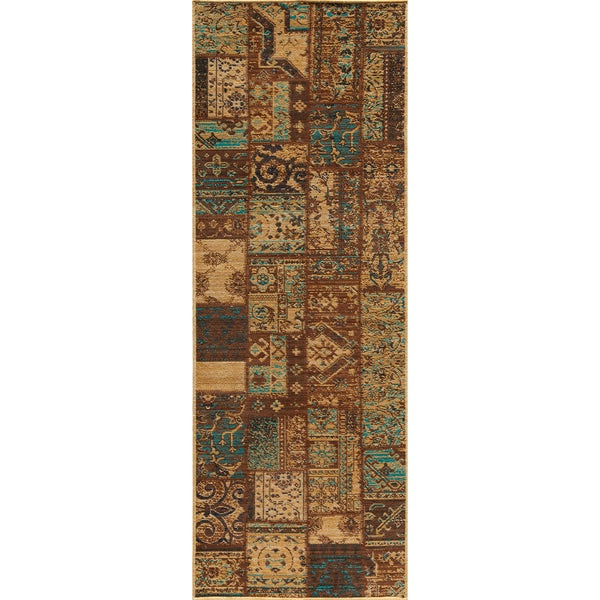 """Vintage Silas Patchwork Light Blue/Brown New Zealand Wool Rug  (2'7"""" x 7'9"""")"""