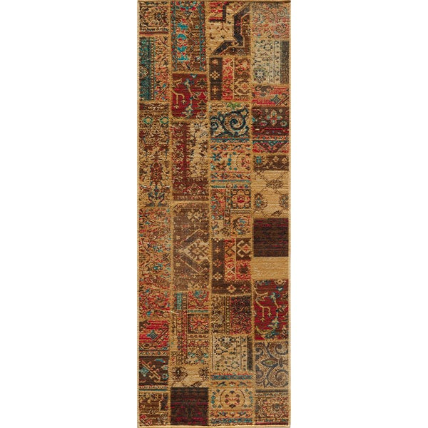 """Vintage Silas Patchwork Gold/Raspberry New Zealand Wool Rug  (2'7"""" x 7'9"""")"""