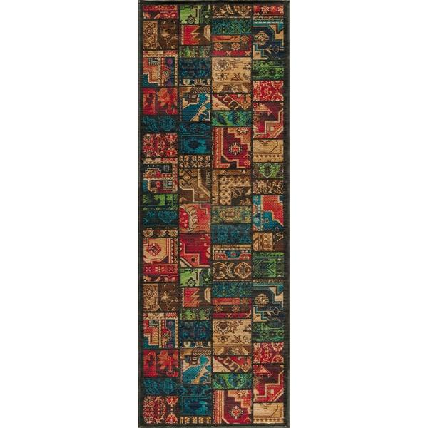 Vintage Warren Patchwork Multi New Zealand Wool Rug (2'7 x 7'9)