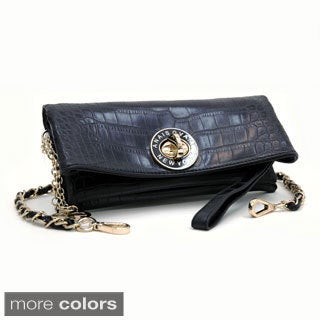 Anais Gvani Croco Embossed Clutch