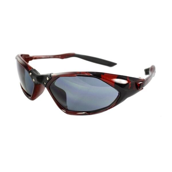 Unisex Black/Burgundy Frame Black Lenses Wrap Sunglasses
