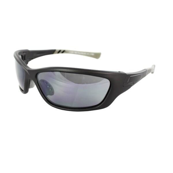 Unisex Black/Grey Wrap Sunglasses
