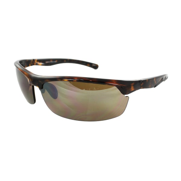 Unisex 492 Brown Leopard Semi-Rimless Wrap Sunglases