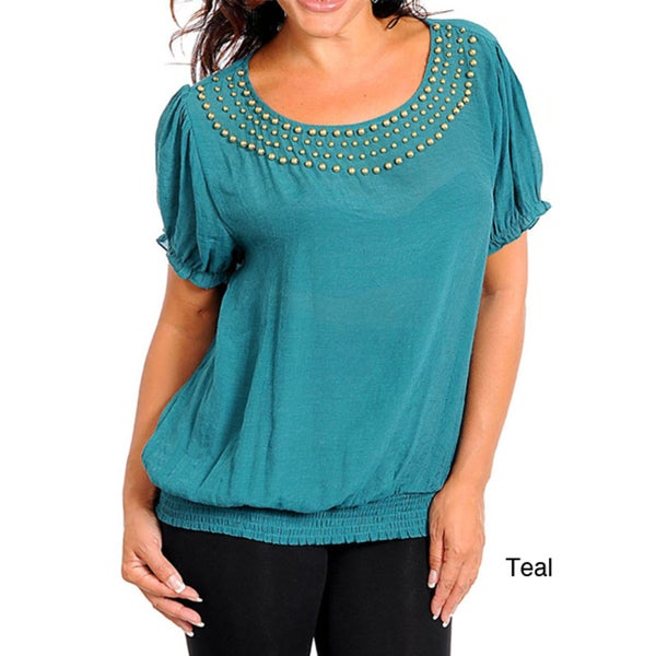 Stanzino Women's Plus Size Scoop Neck Top with Beaded Neckline