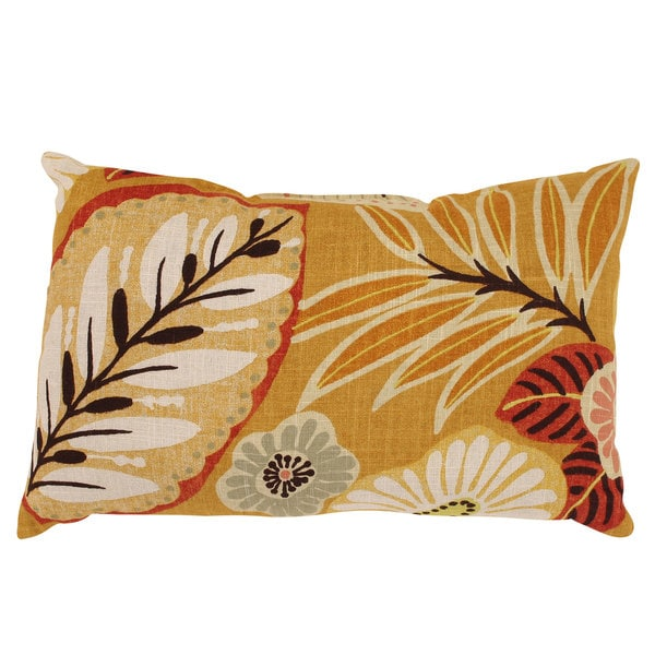 Gold Tropical Rectangular Throw Pillow