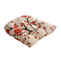 Beige/Red Flowering Branch Chair Cushion - Beige