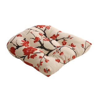 Beige/Red Flowering Branch Chair Cushion - Beige