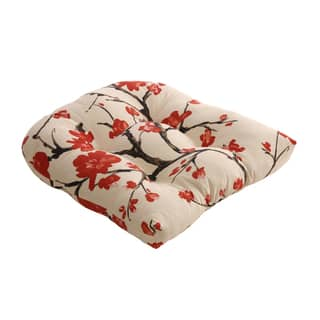 Beige Red Flowering Branch Chair Cushion