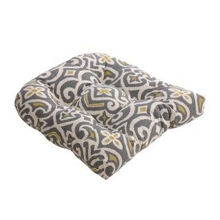 Gray and Greenish-yellow Damask Chair Cushion