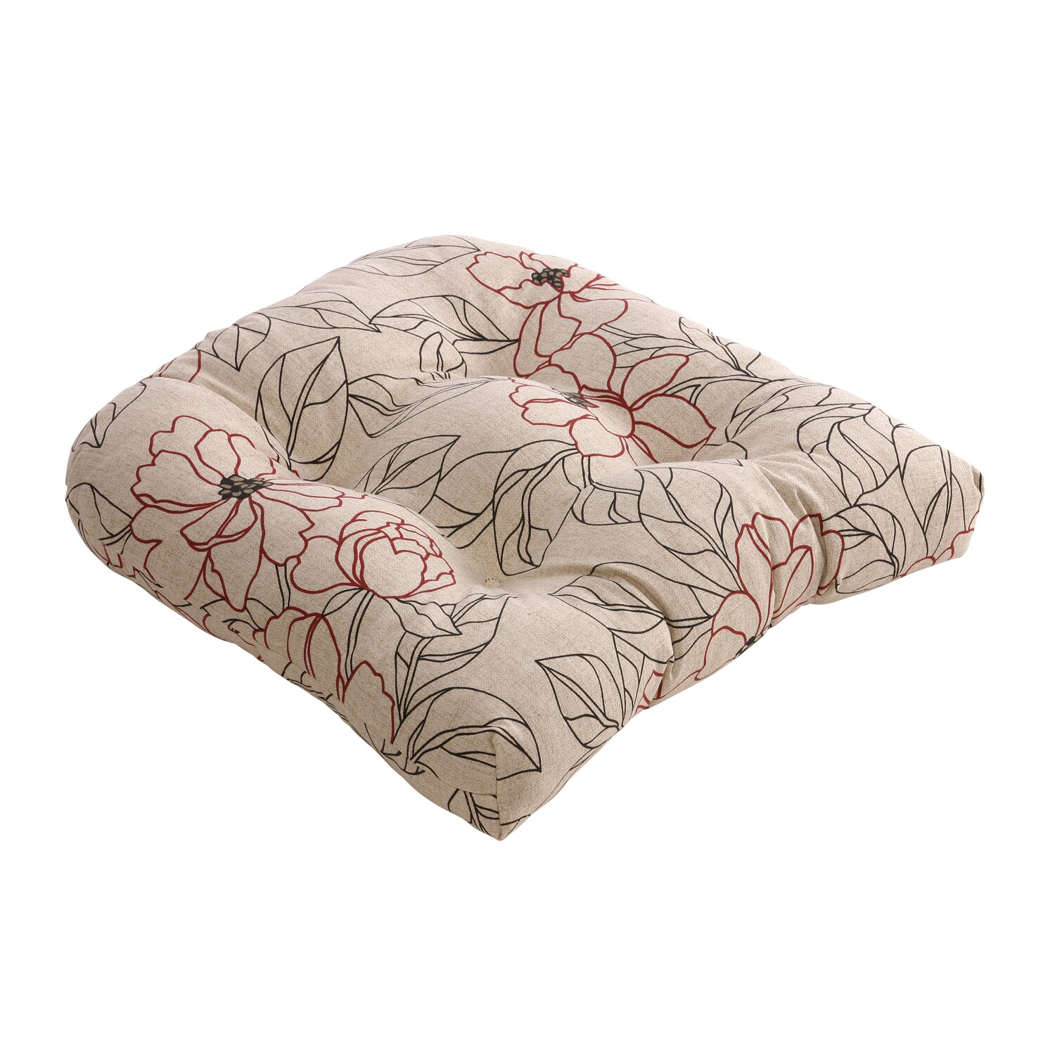 Red/ Beige Floral Chair Cushion