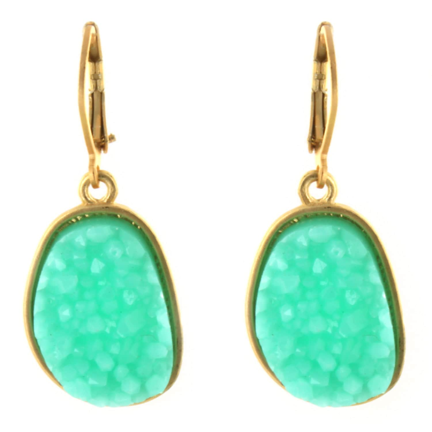 Inspired Fashion Jewelry Big Oval Drusy Earrings Turquoise in Silver Metal Tone