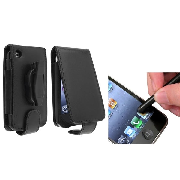 BasAcc Leather Case/ Black Stylus for Apple® iPhone 3G/ 3GS