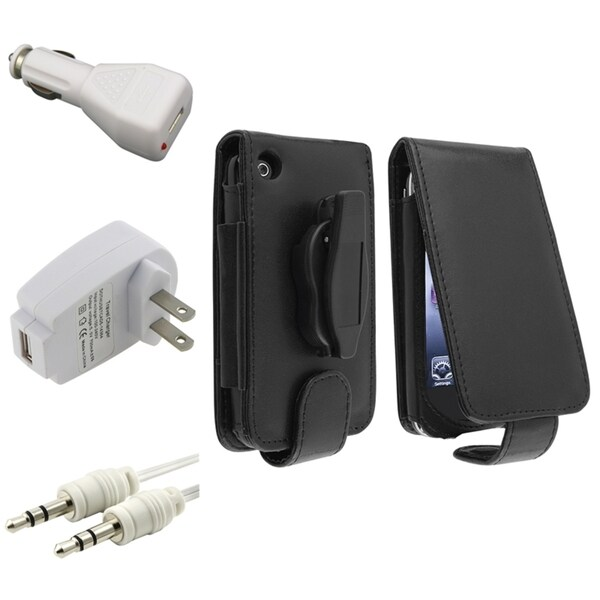 BasAcc Leather Case/ White Chargers/ Cable for Apple® iPhone 3G/ 3GS