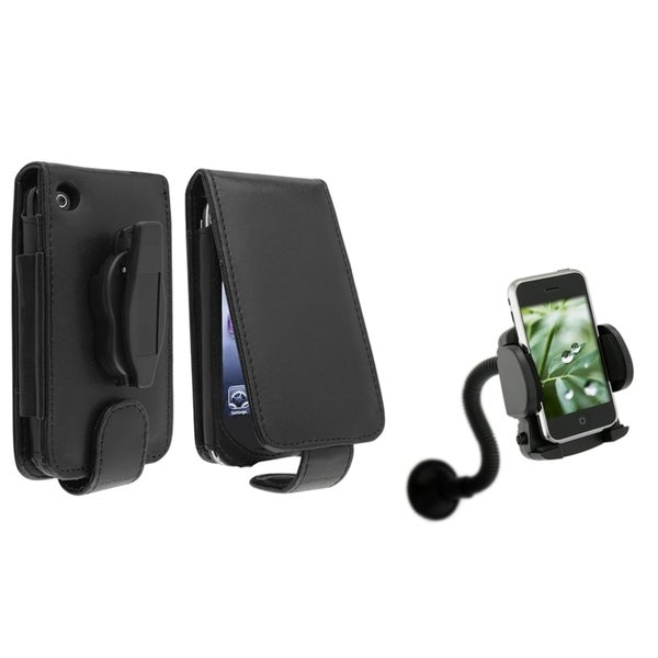 BasAcc Leather Case/ Windshield Mount for Apple® iPhone 3G/ 3GS