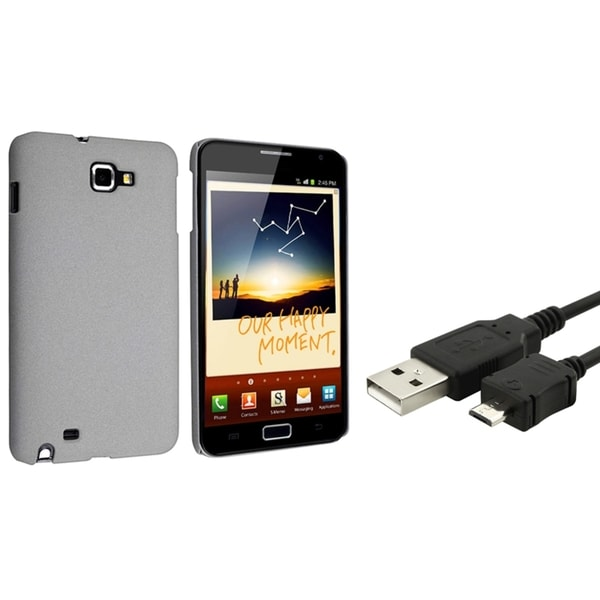 BasAcc Grey Matte Case/ USB Data Cable for Samsung© Galaxy Note N7000