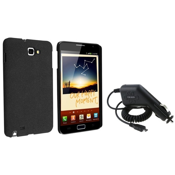 BasAcc Black Matte Case/ Car Charger for Samsung Galaxy Note N7000