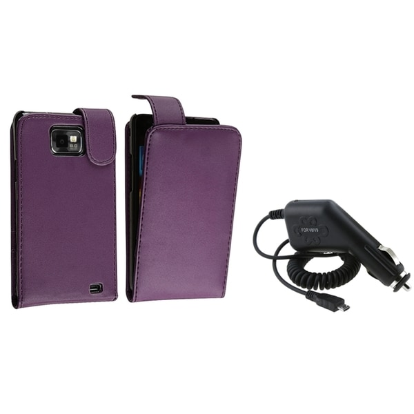 BasAcc Purple Case/ Car Charger for Samsung© Galaxy S II/ S2 i9100