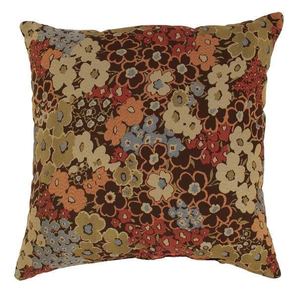 'Meadow' Brown Floral Floor Pillow