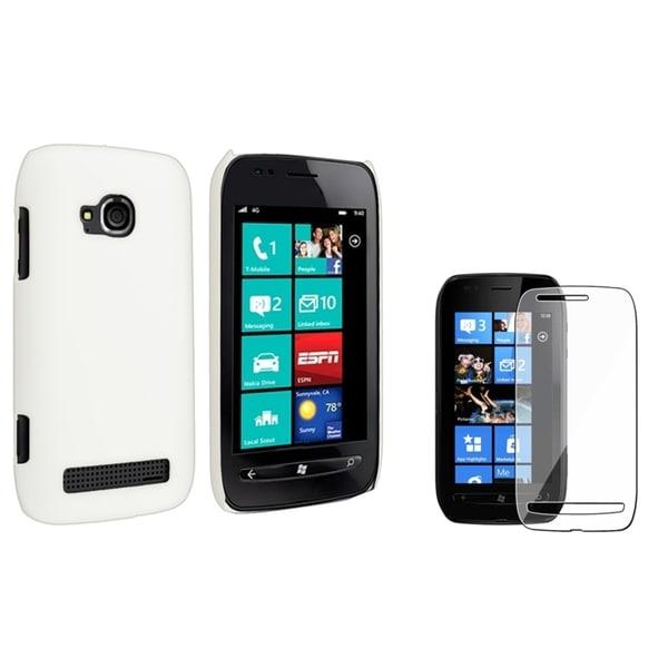 BasAcc White Rubber Case/ Screen Protector for Nokia Lumia 710