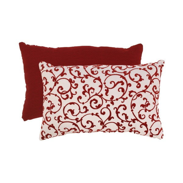 Red/ White Flocked Damask Rectangular Throw Pillow