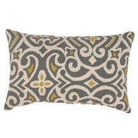 Clay Alder Home Kent Trails Grey / Greenish-Yellow Damask Rectangular Throw Pillow