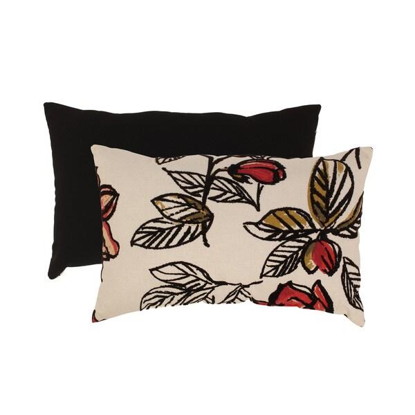 Flocked Floral Rectangular Throw Pillow