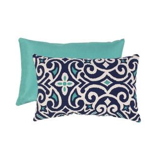 Porch & Den Kent Trails Blue/ White Damask Rectangular Throw Pillow