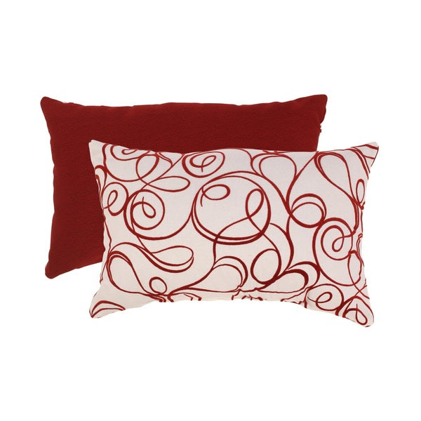 Flocked Scroll Rectangular Throw Pillow