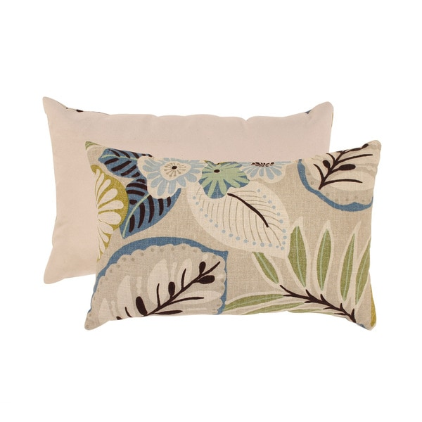Pillow Perfect Beige/ Blue Tropical Rectangular Throw Pillow - Free Shipping On Orders Over $45 ...