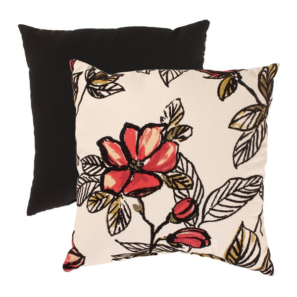 Pillow Perfect Flocked Floral 18-inch Throw Pillow