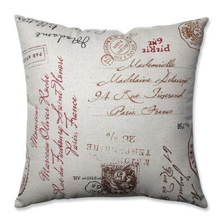 Pillow Perfect Linen/Red French Postale 18-inch Square Throw Pillow