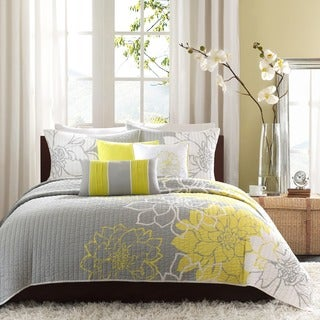 Madison Park Brianna Yellow Cotton Printed Quilted Coverlet Set (2 options available)