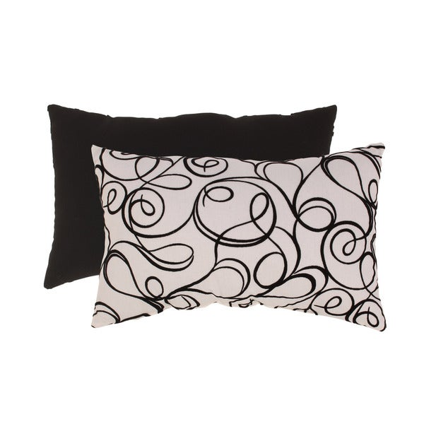Pillow Perfect Black/White Flocked Scroll Rectangular Throw Pillow
