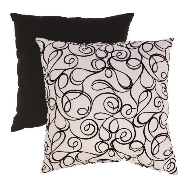 Pillow Perfect Black/ White Flocked Scroll Floor Pillow