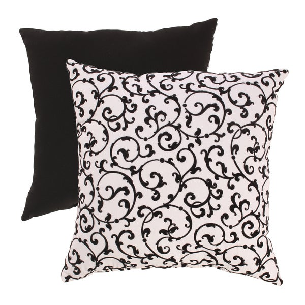 Flocked Damask 18-inch Throw Pillow
